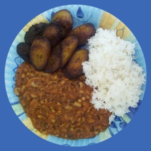 Fried Plantains with Bea Stew and Jasmine Rice