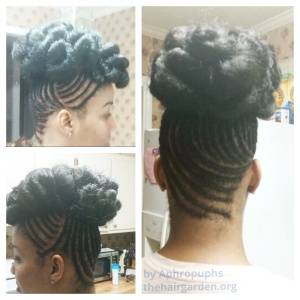 Cornrows and a pinned bun